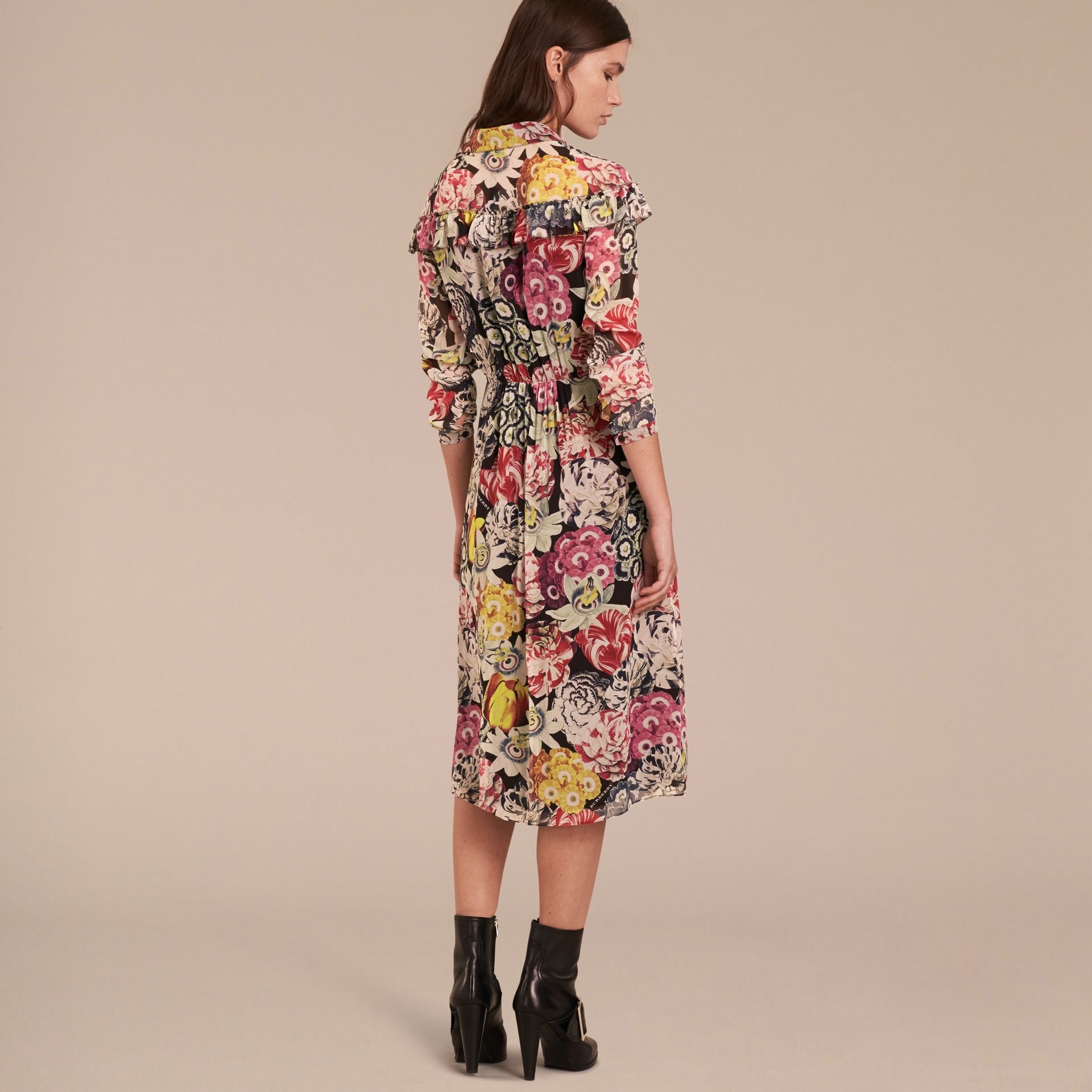 Painterly Floral Print Silk Georgette Frill Detail Dress - gallery image 3