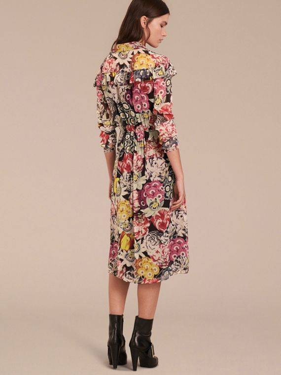 Painterly Floral Print Silk Georgette Frill Detail Dress - cell image 2