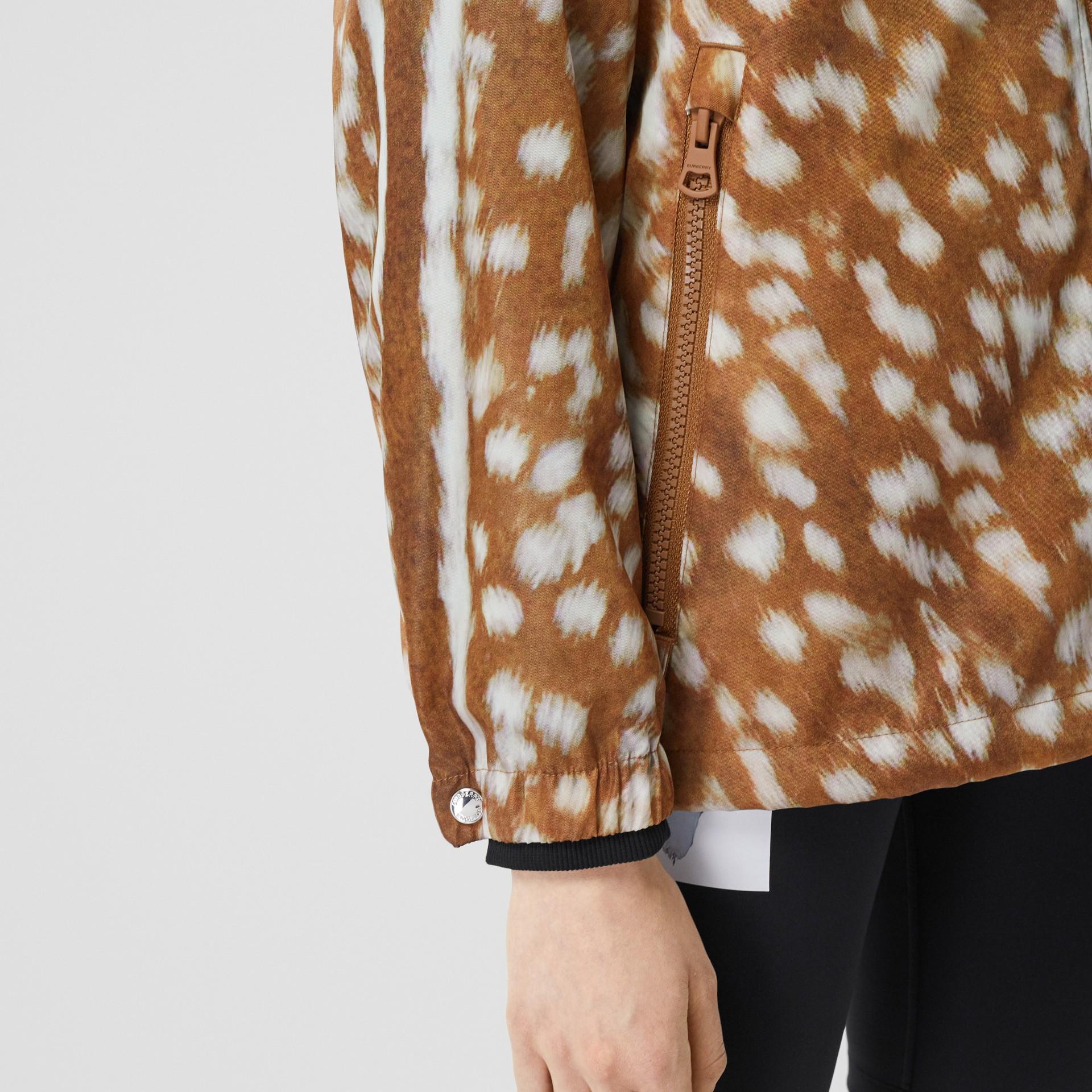 Deer Print ECONYL® Hooded Jacket in Honey - Women | Burberry - gallery image 4