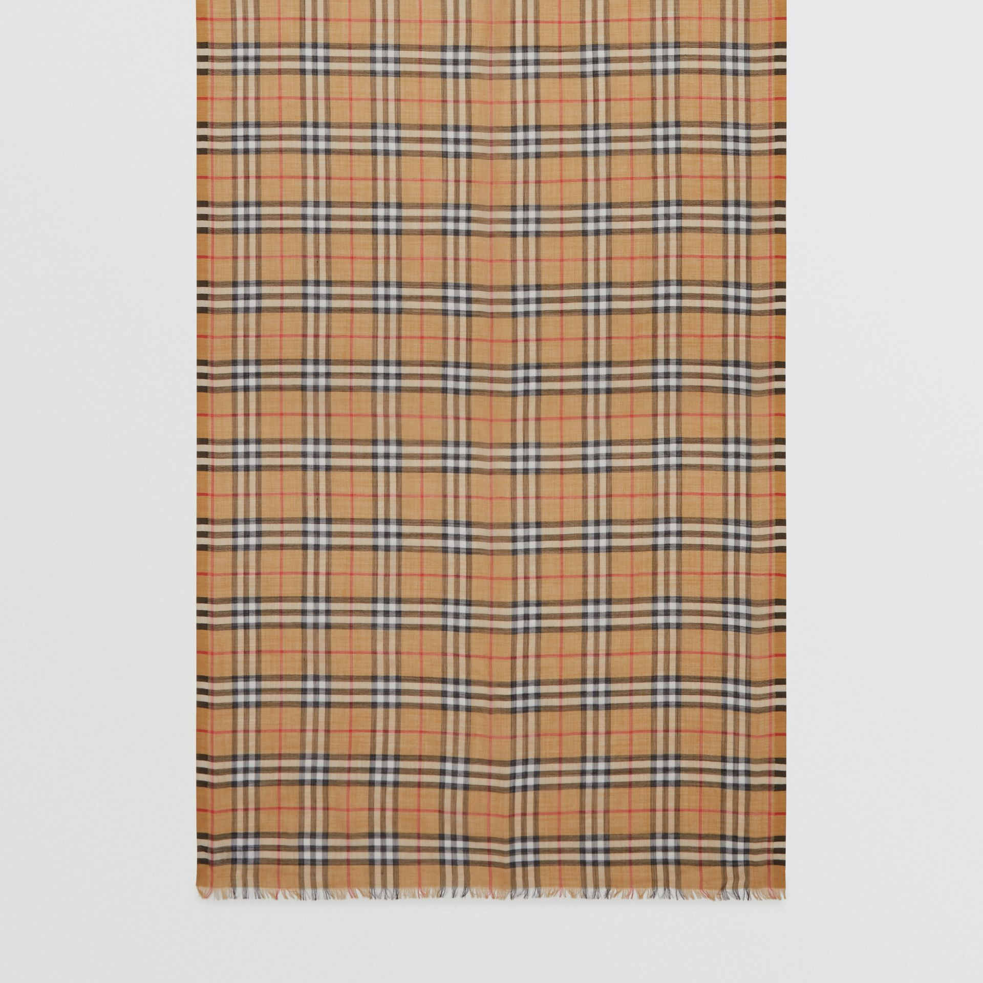 Vintage Check Lightweight Wool Silk Scarf in Antique Yellow | Burberry - gallery image 3