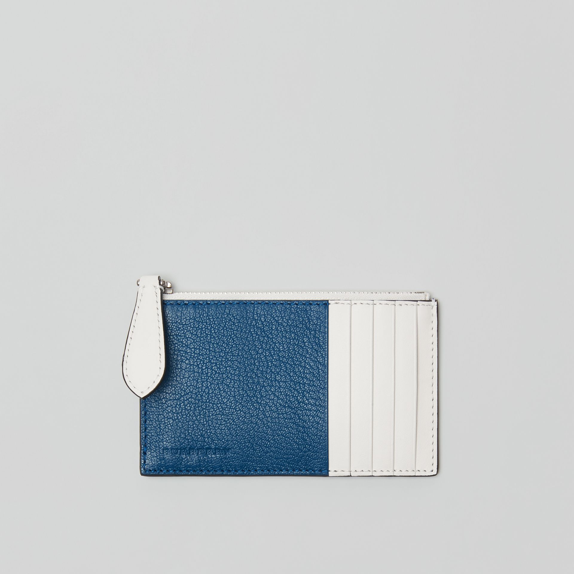 Two-tone Leather Zip Card Case in Peacock Blue | Burberry - gallery image 0