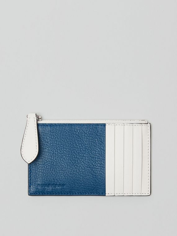 Porta-cartões de couro em dois tons com zíper (Azul Pavão)