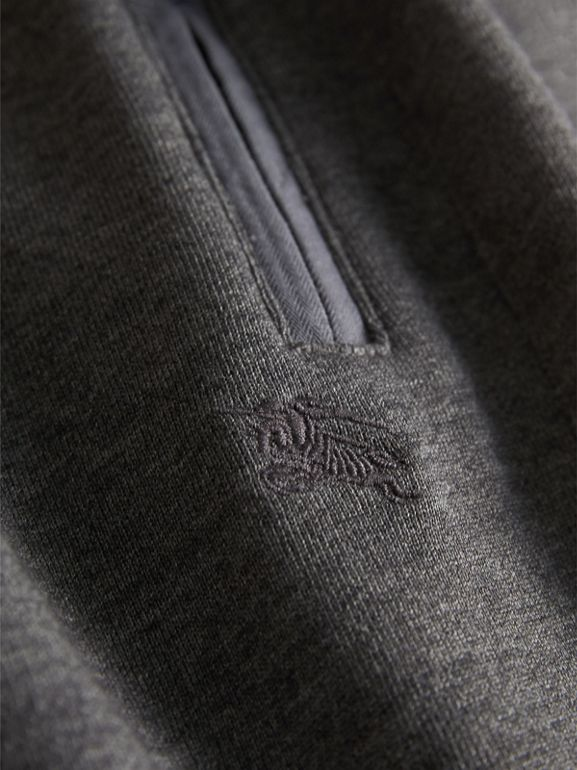 Drawcord Cotton Sweatpants in Charcoal Melange | Burberry - cell image 1