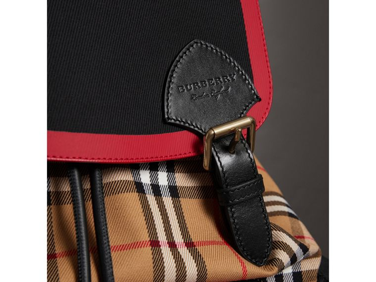 The Large Rucksack in Vintage Check and Leather in Antique Yellow | Burberry Canada - cell image 1