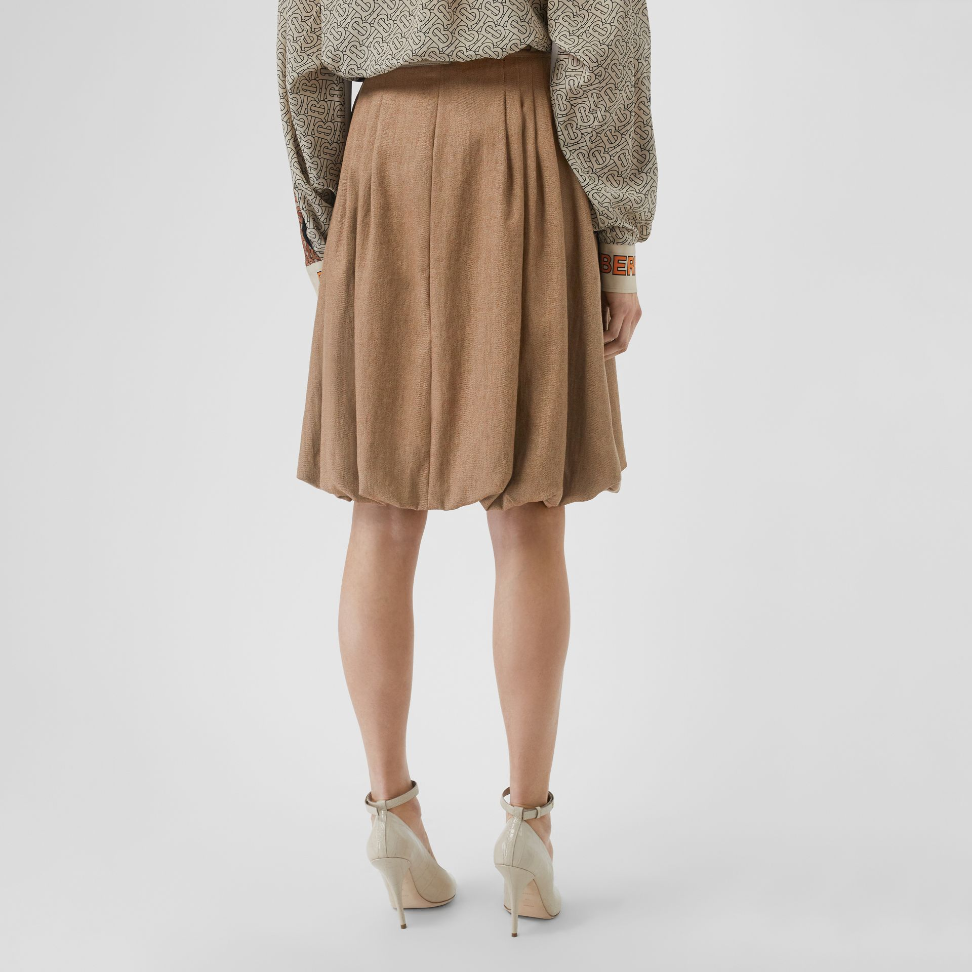 Linen Blend Bubble Hem Skirt in Driftwood - Women | Burberry Australia - gallery image 2