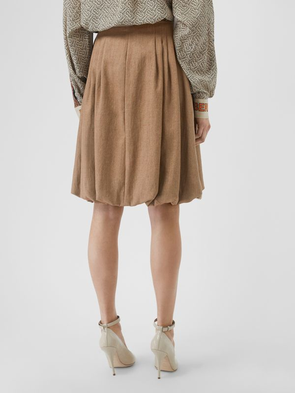 Linen Blend Bubble Hem Skirt in Driftwood - Women | Burberry Australia - cell image 2