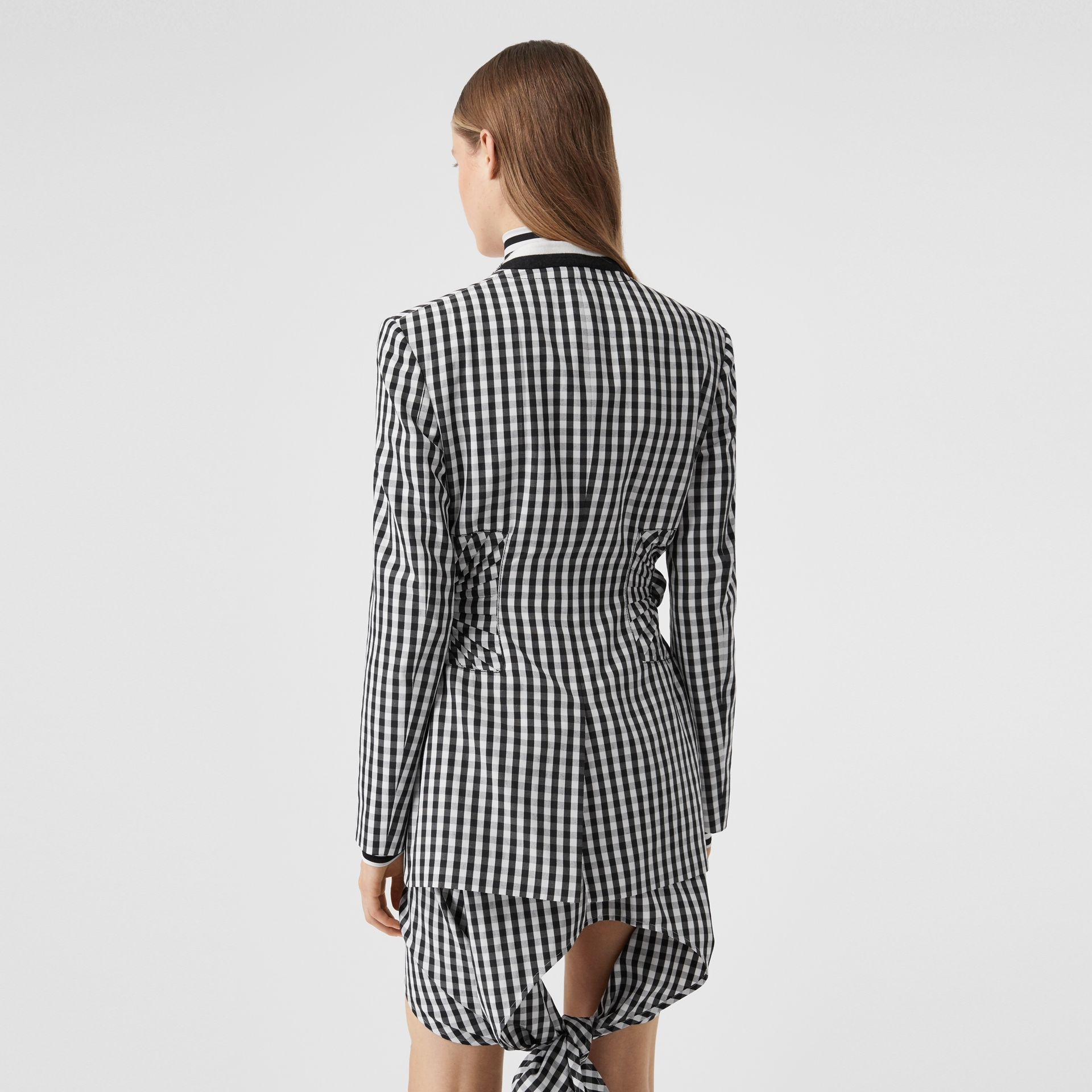 Gingham Technical Wool Blazer in Black - Women | Burberry United Kingdom - gallery image 2