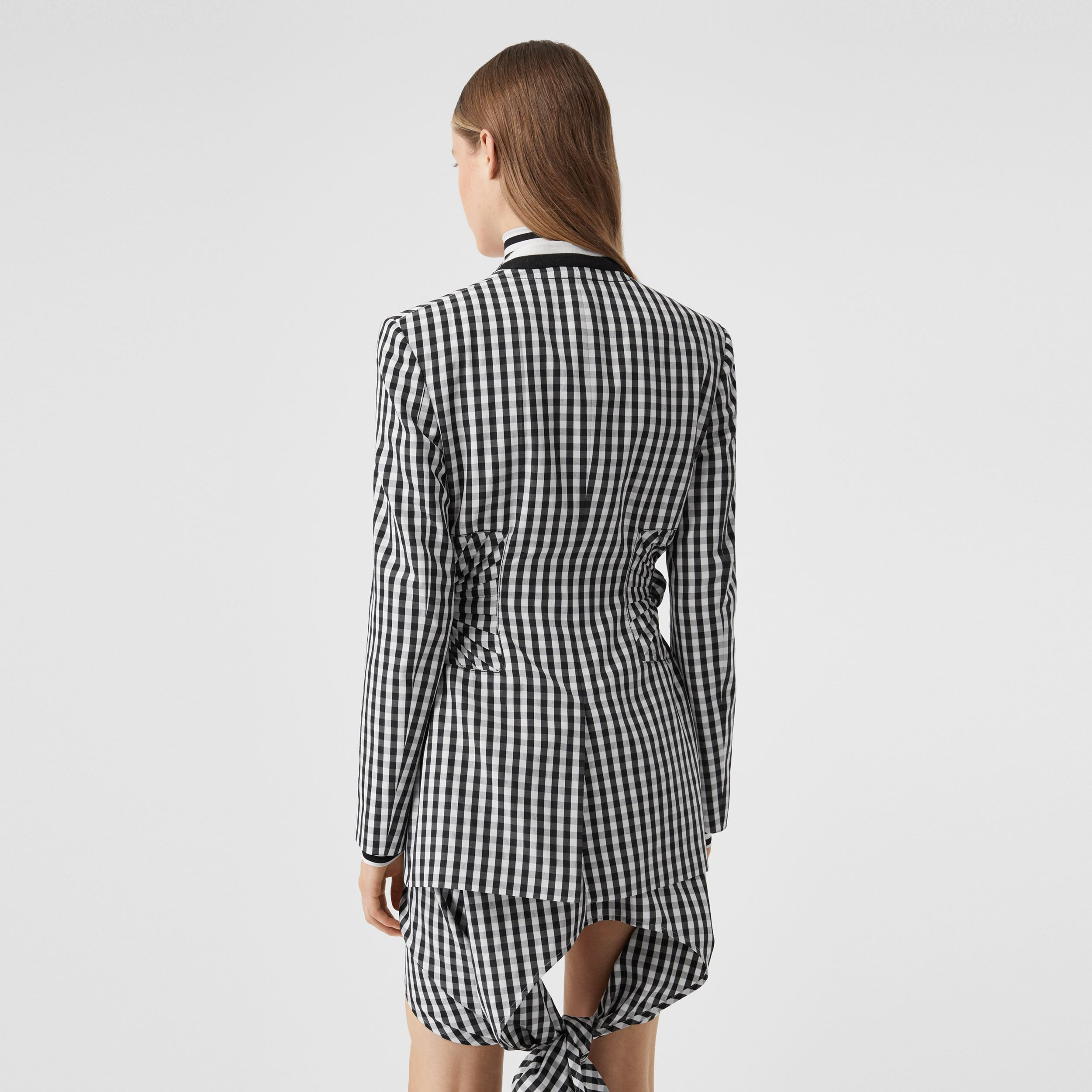 Gingham Technical Wool Blazer in Black - Women | Burberry - 3