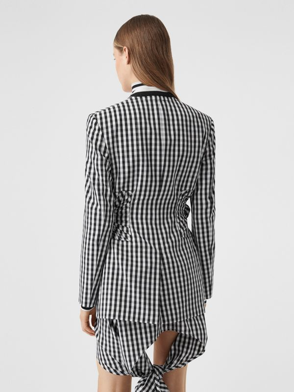 Gingham Technical Wool Blazer in Black - Women | Burberry - cell image 2