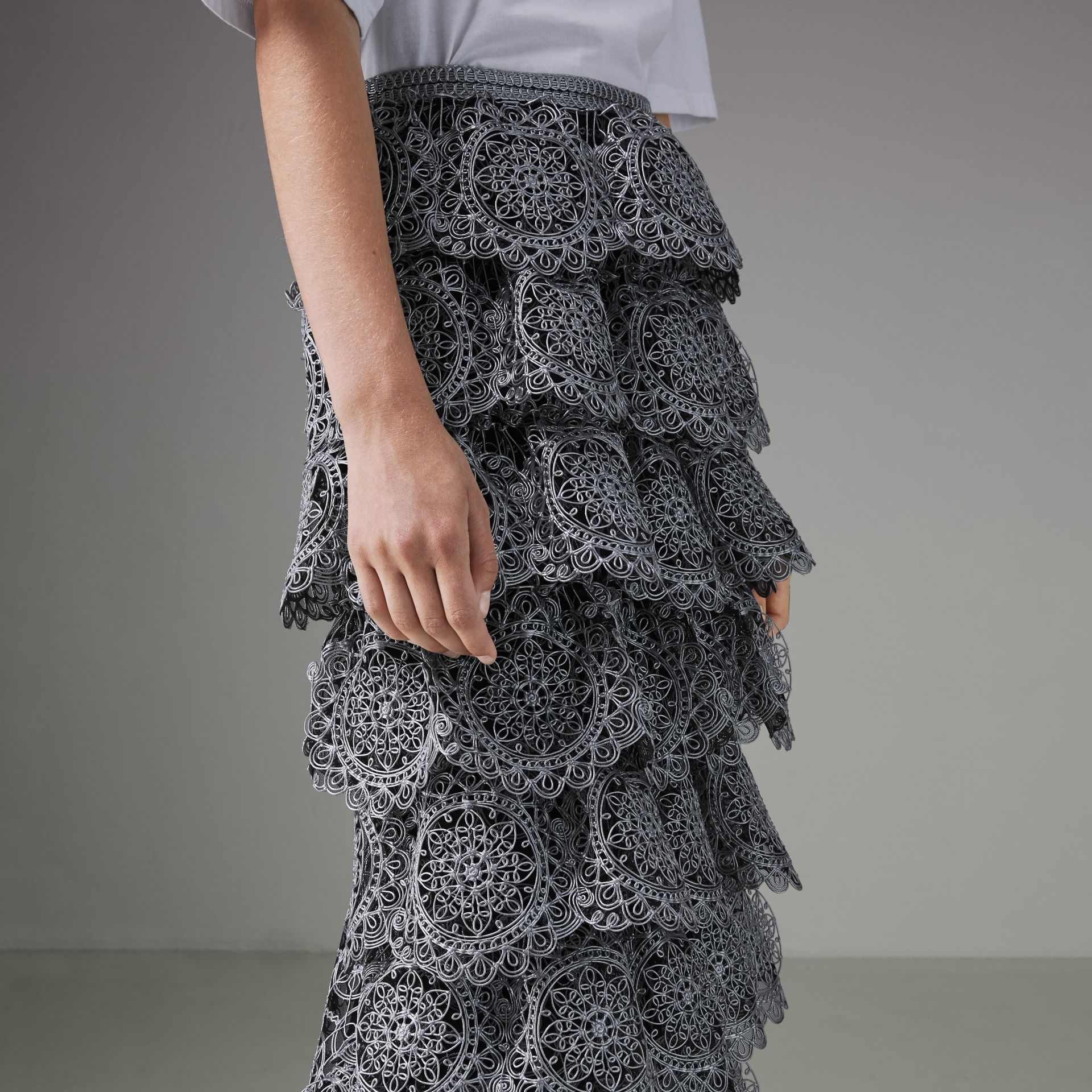 Tiered Silicone Lace Skirt in Silver - Women | Burberry - gallery image 1