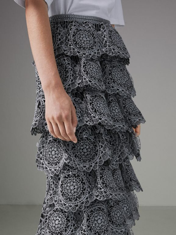 Tiered Silicone Lace Skirt in Silver - Women | Burberry United Kingdom - cell image 1