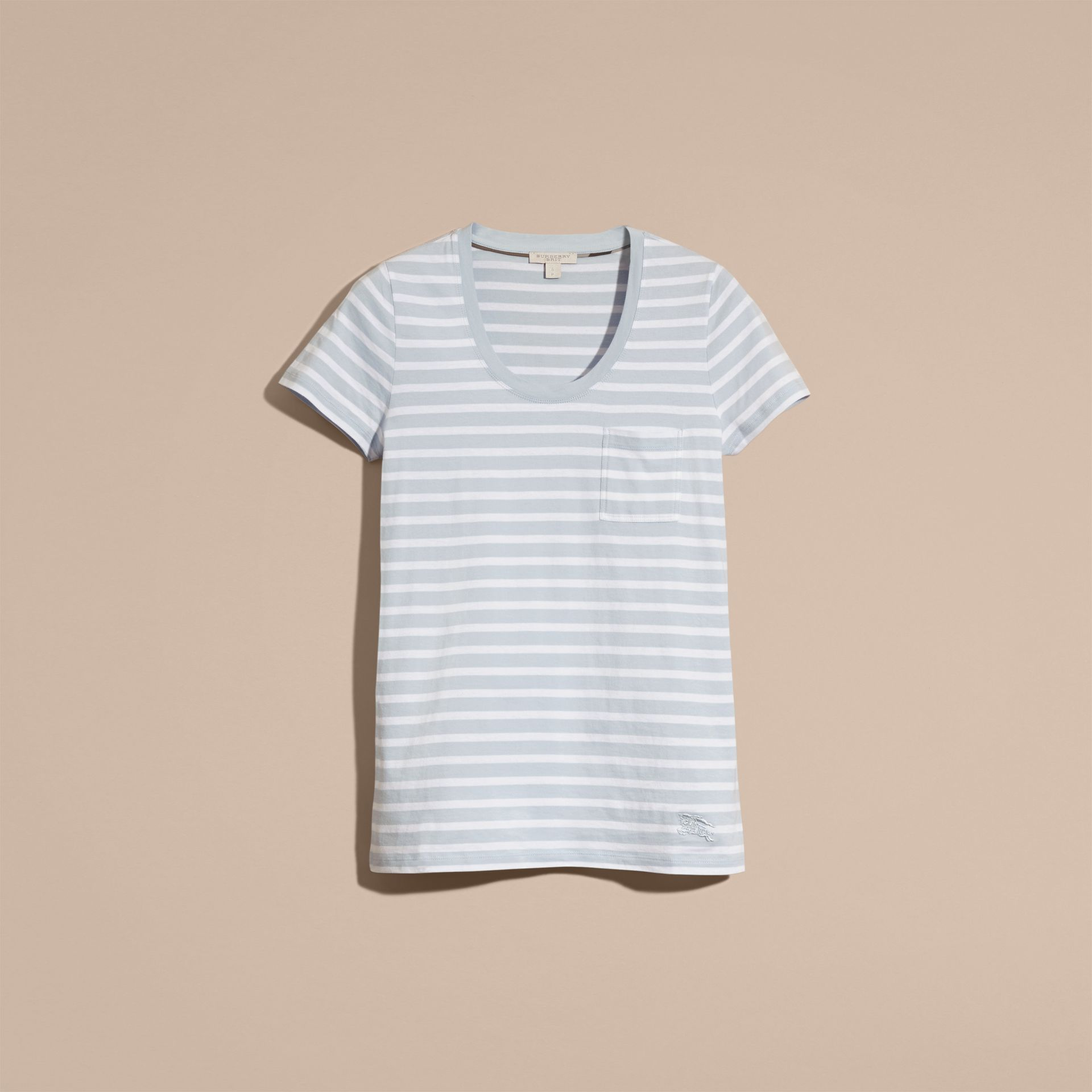 Sky blue Striped Cotton T-shirt Sky Blue - gallery image 4