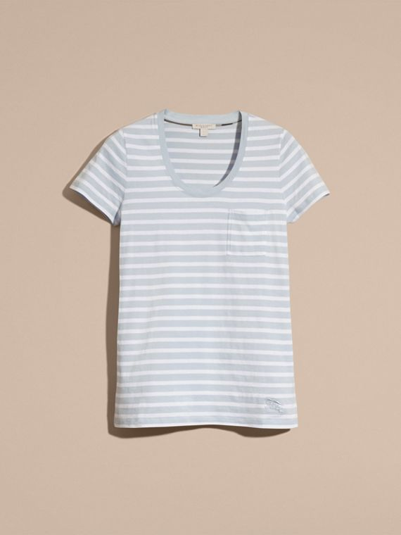 Sky blue Striped Cotton T-shirt Sky Blue - cell image 3