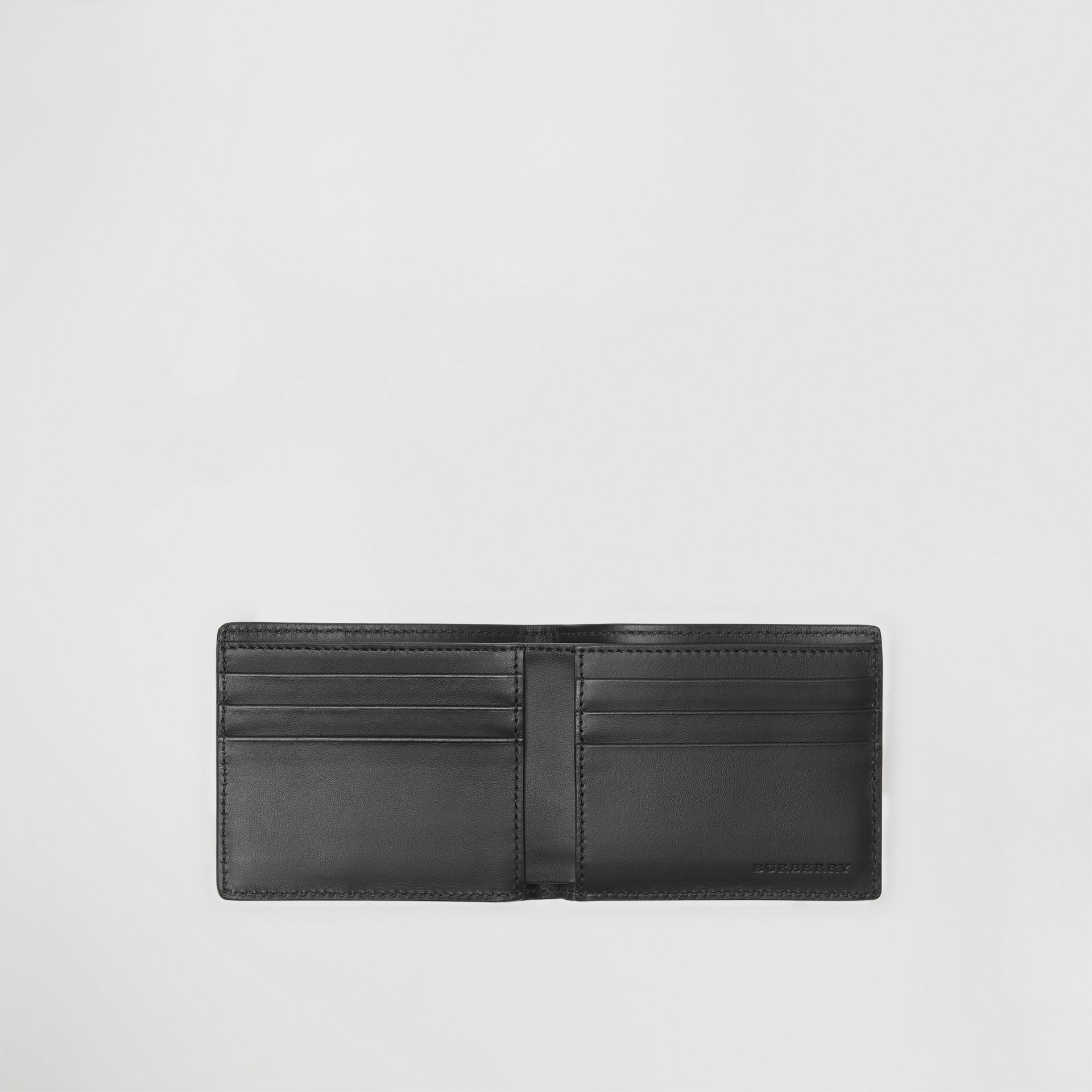 Small Scale Check and Leather Bifold Wallet in Antique Yellow/black - Men | Burberry Canada - gallery image 2