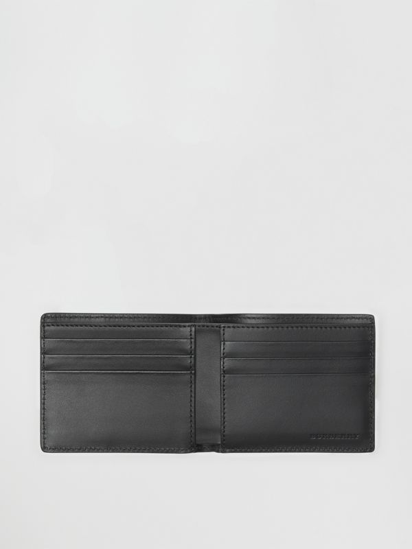 Small Scale Check and Leather Bifold Wallet in Antique Yellow/black - Men | Burberry Hong Kong - cell image 2