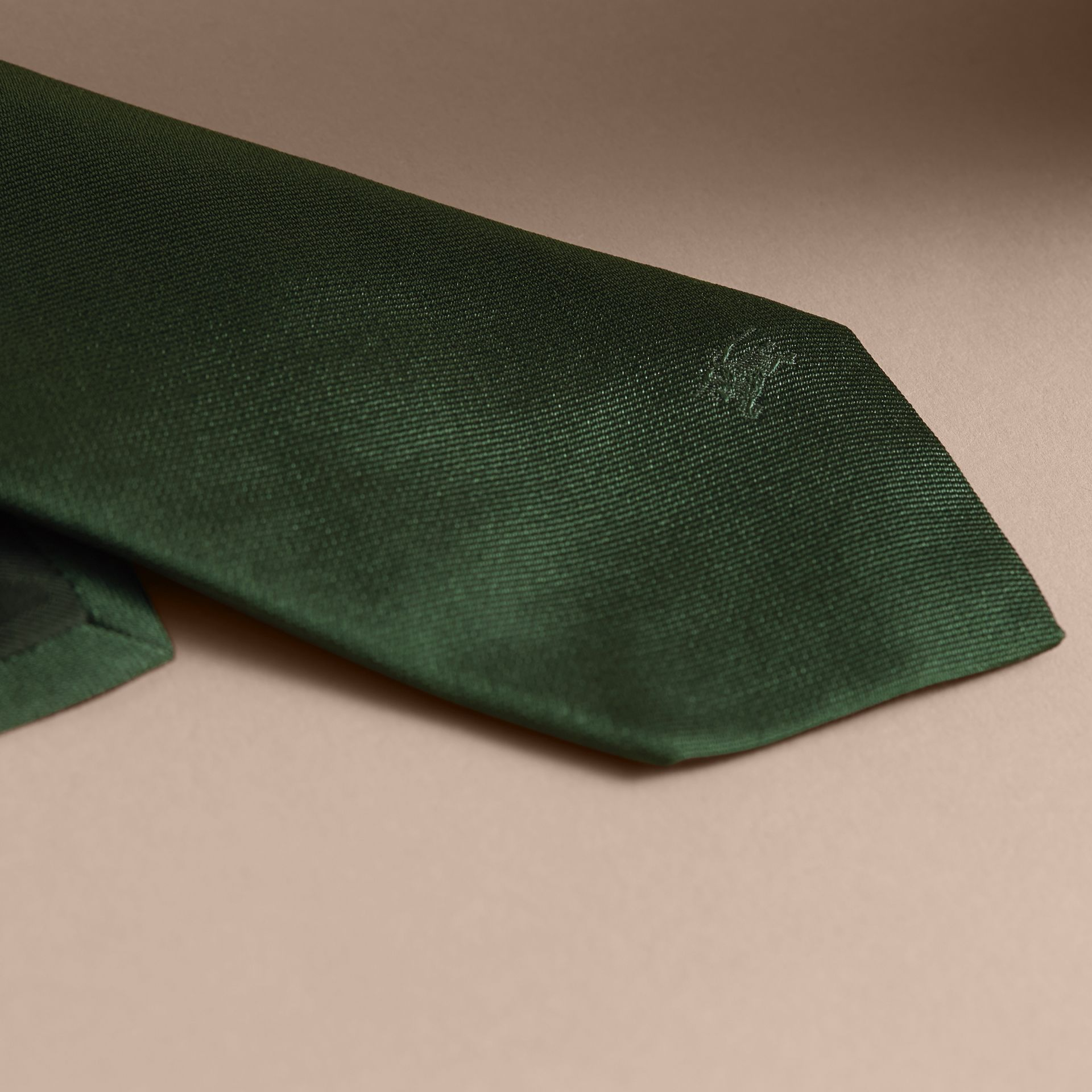 Modern Cut Silk Twill Tie in Dark Forest Green - gallery image 2