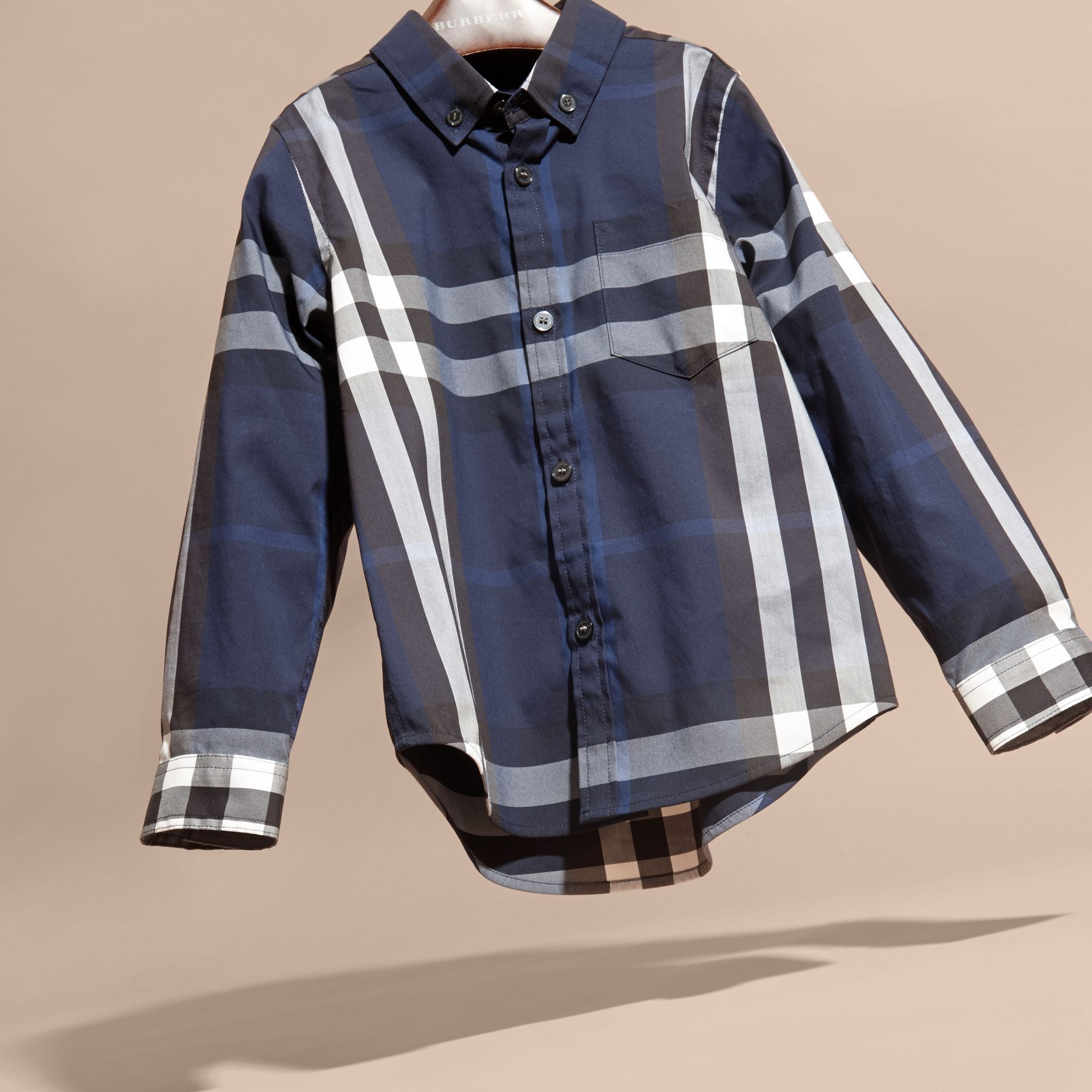 Indigo blue Check Cotton Button-Down Shirt Indigo Blue - gallery image 3