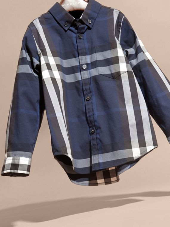 Indigo blue Check Cotton Button-Down Shirt Indigo Blue - cell image 2