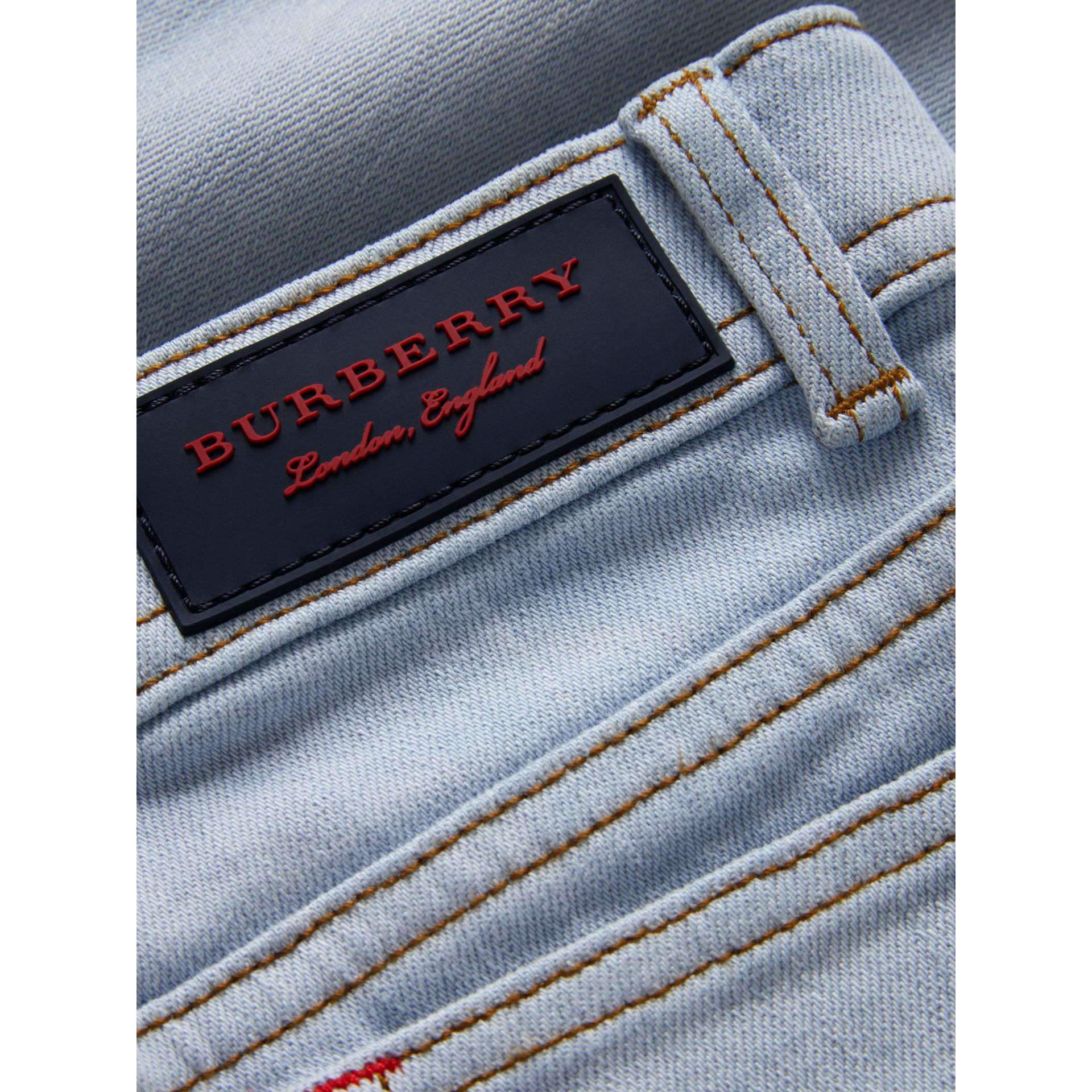 Relaxed Fit Stretch Denim Jeans in Light Blue - Girl | Burberry - gallery image 1