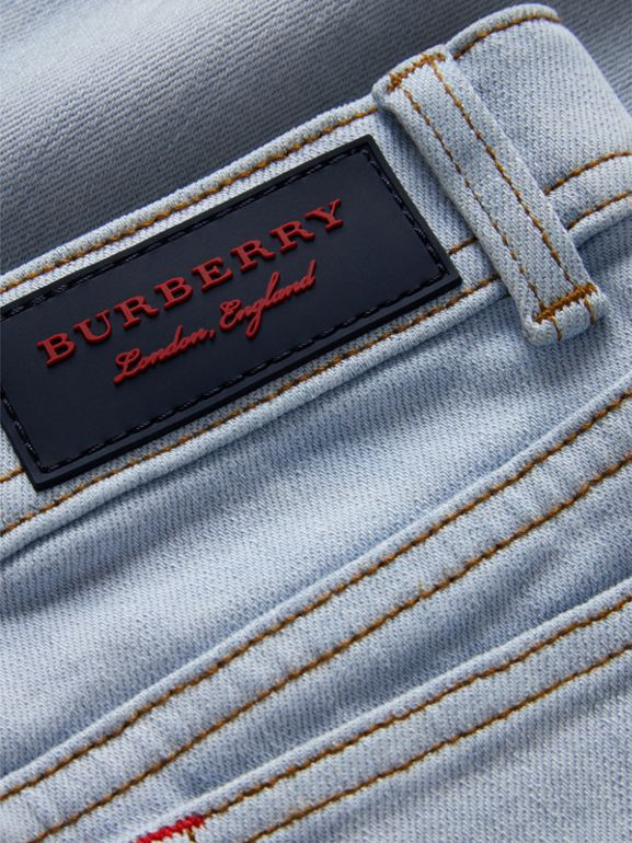 Relaxed Fit Stretch Denim Jeans in Light Blue - Girl | Burberry - cell image 1
