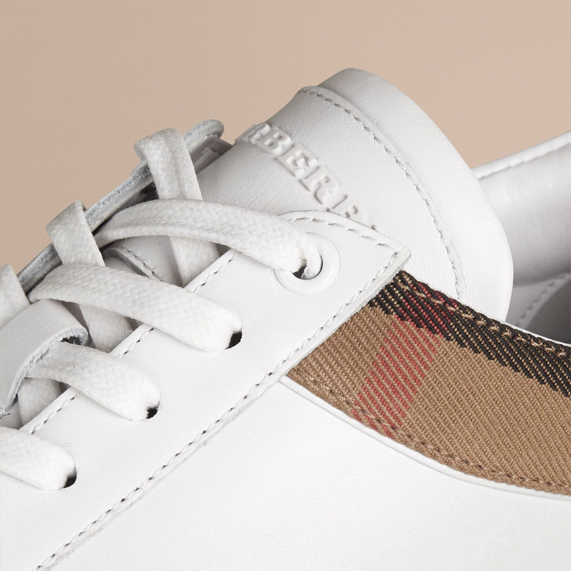 Leather and House Check Trainers in White - gallery image 2