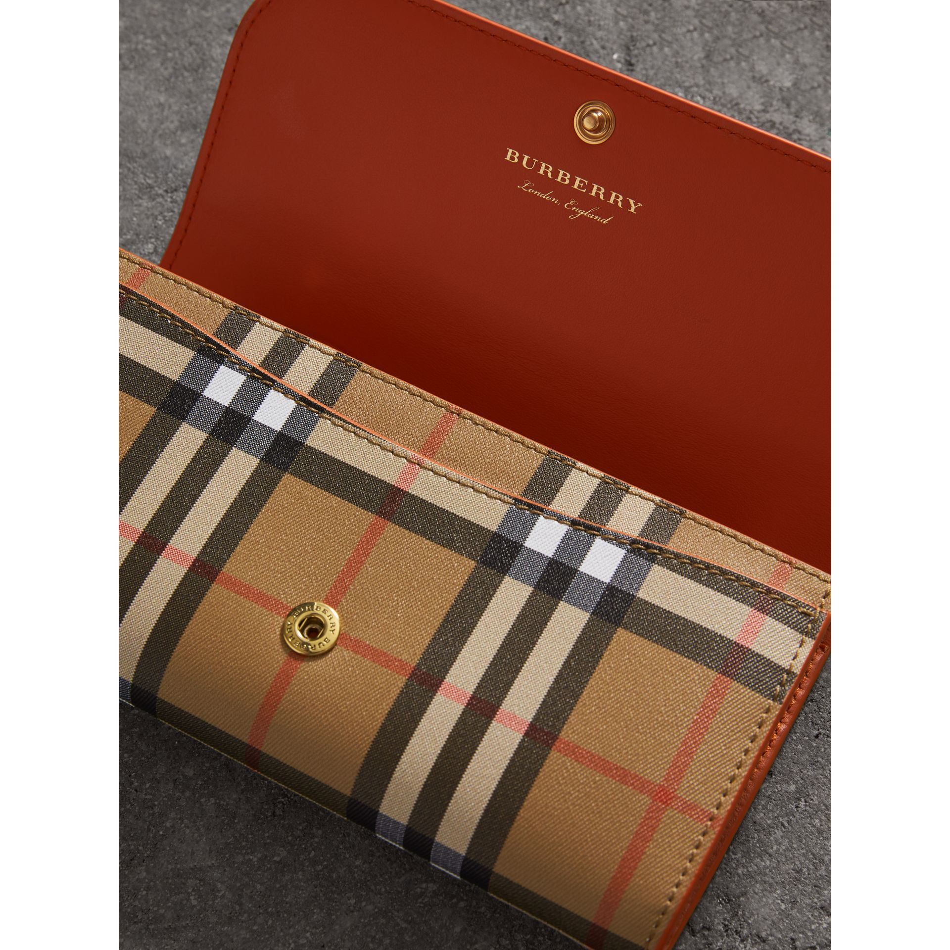 Vintage Check and Leather Continental Wallet in Clementine - Women | Burberry United States - gallery image 3