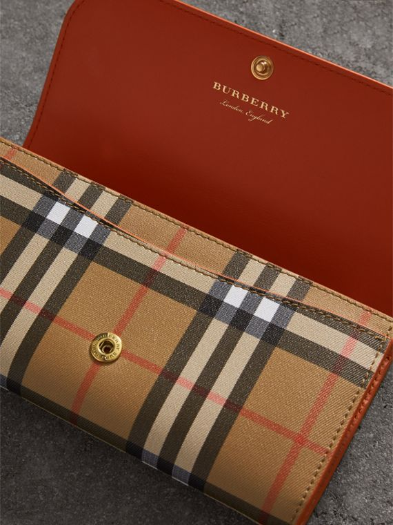 Vintage Check and Leather Continental Wallet in Clementine - Women | Burberry United States - cell image 3