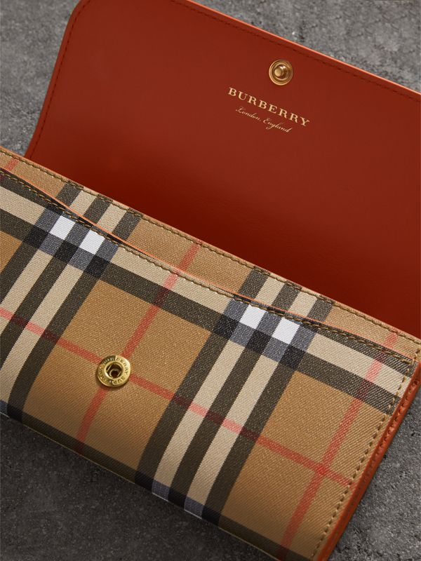 Vintage Check and Leather Continental Wallet in Clementine - Women | Burberry - cell image 3