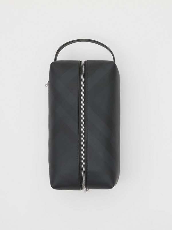 London Check and Leather Travel Pouch in Dark Charcoal - Men | Burberry United States - cell image 3