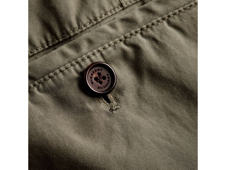 Slim Fit Stretch Cotton Chinos in Slate Green - Men | Burberry Canada - cell image 1