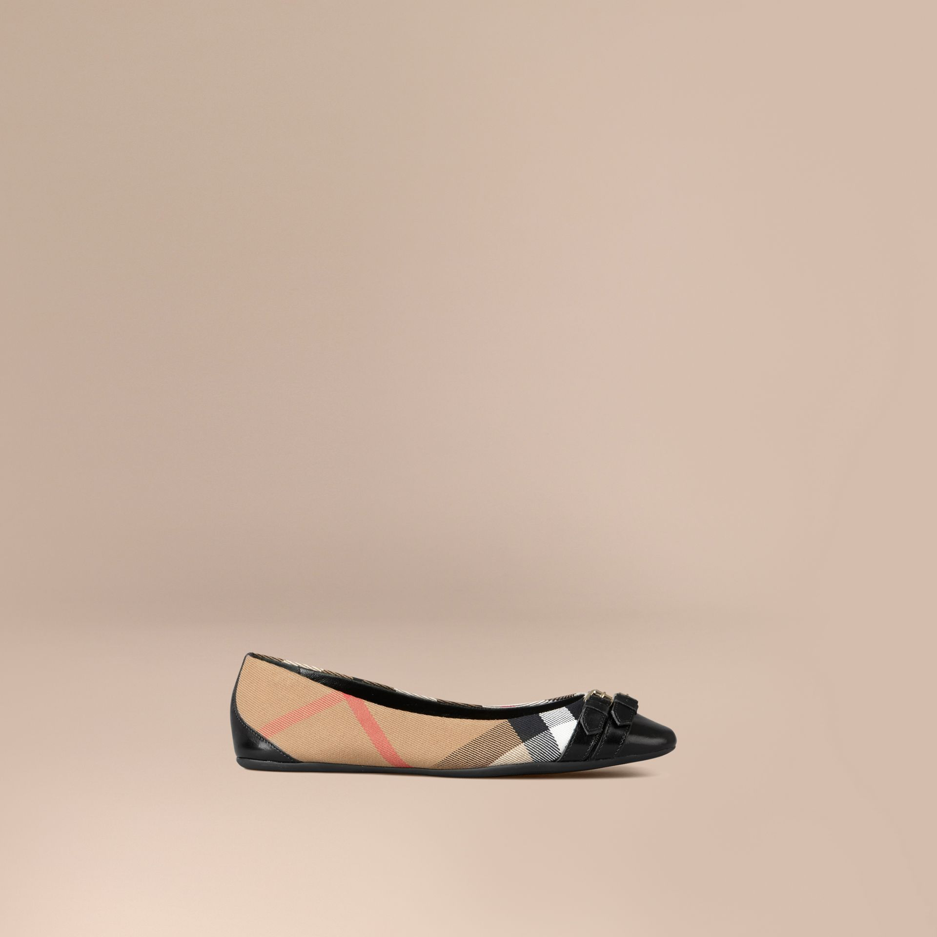 Bridle House Check Ballerinas in Black - gallery image 1