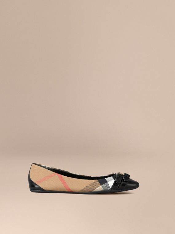 Bridle House Check Ballerinas Black