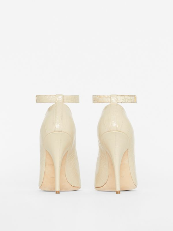Triple Stud Embossed Leather Point-toe Pumps in Teddy Beige - Women | Burberry - cell image 3