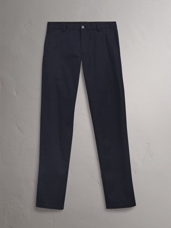 Slim Fit Cotton Chinos in Ink - Men | Burberry - cell image 3