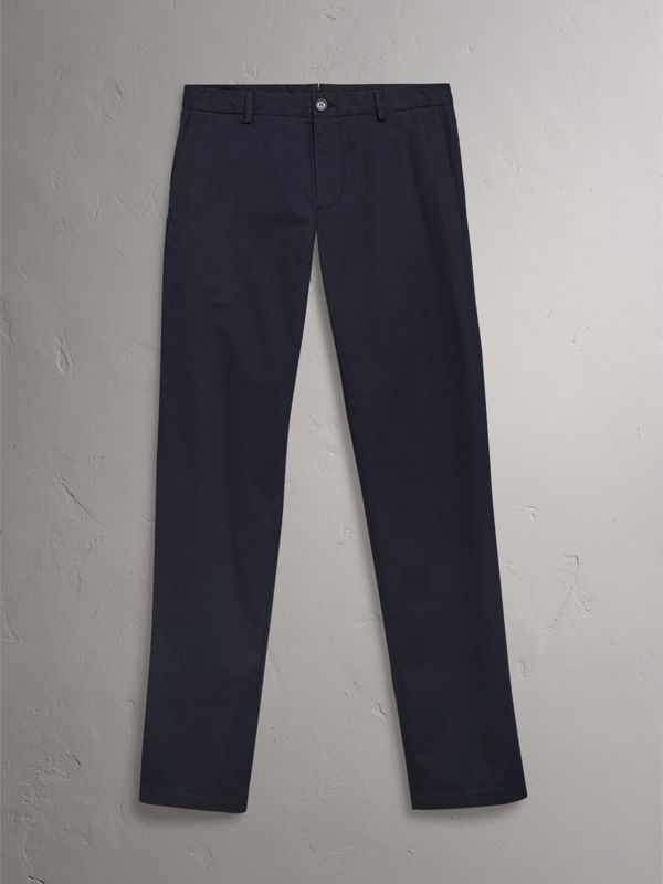 Slim Fit Cotton Chinos in Ink - Men | Burberry Hong Kong - cell image 3