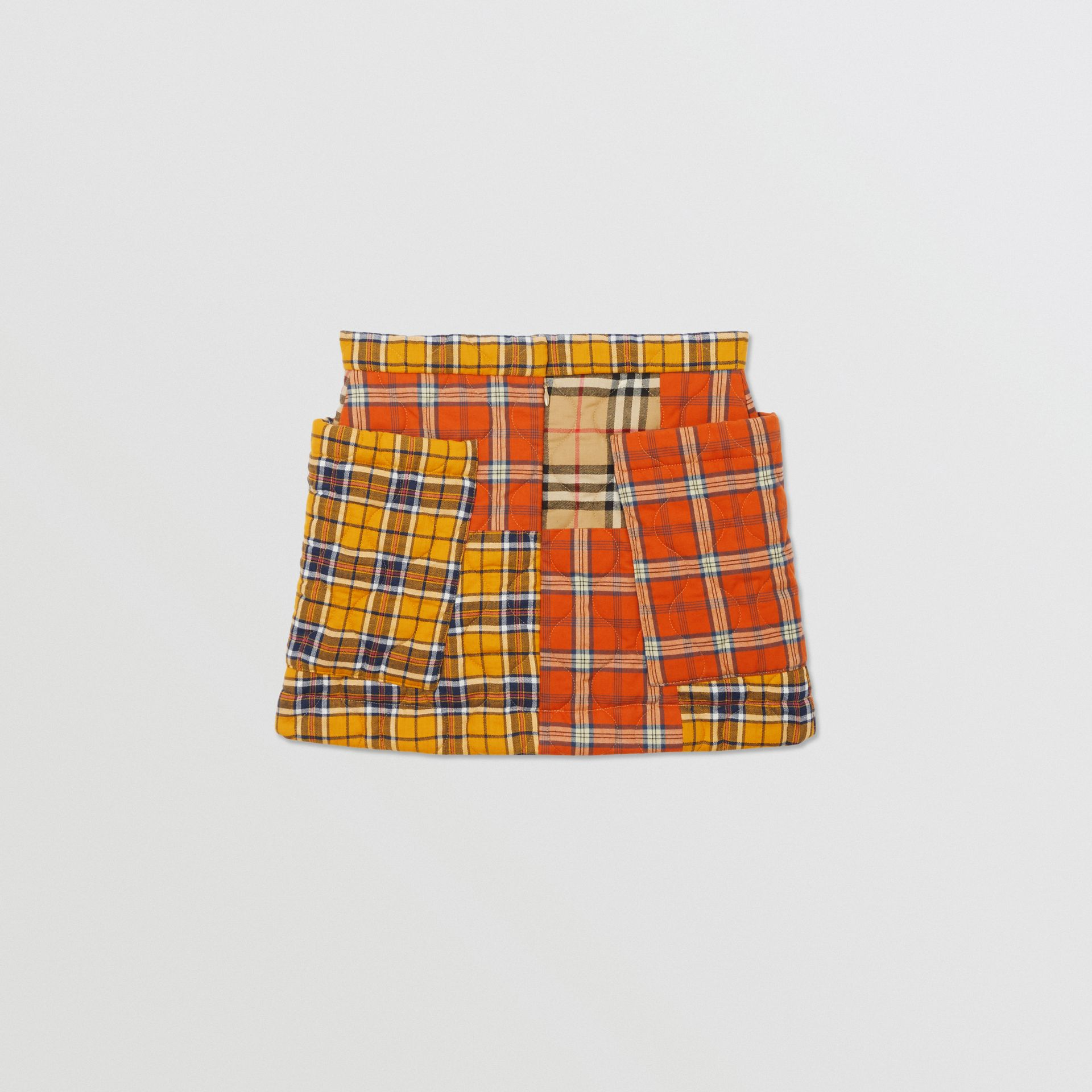 Patchwork Check Cotton Flannel Skirt in Souwester Yellow | Burberry United Kingdom - gallery image 3
