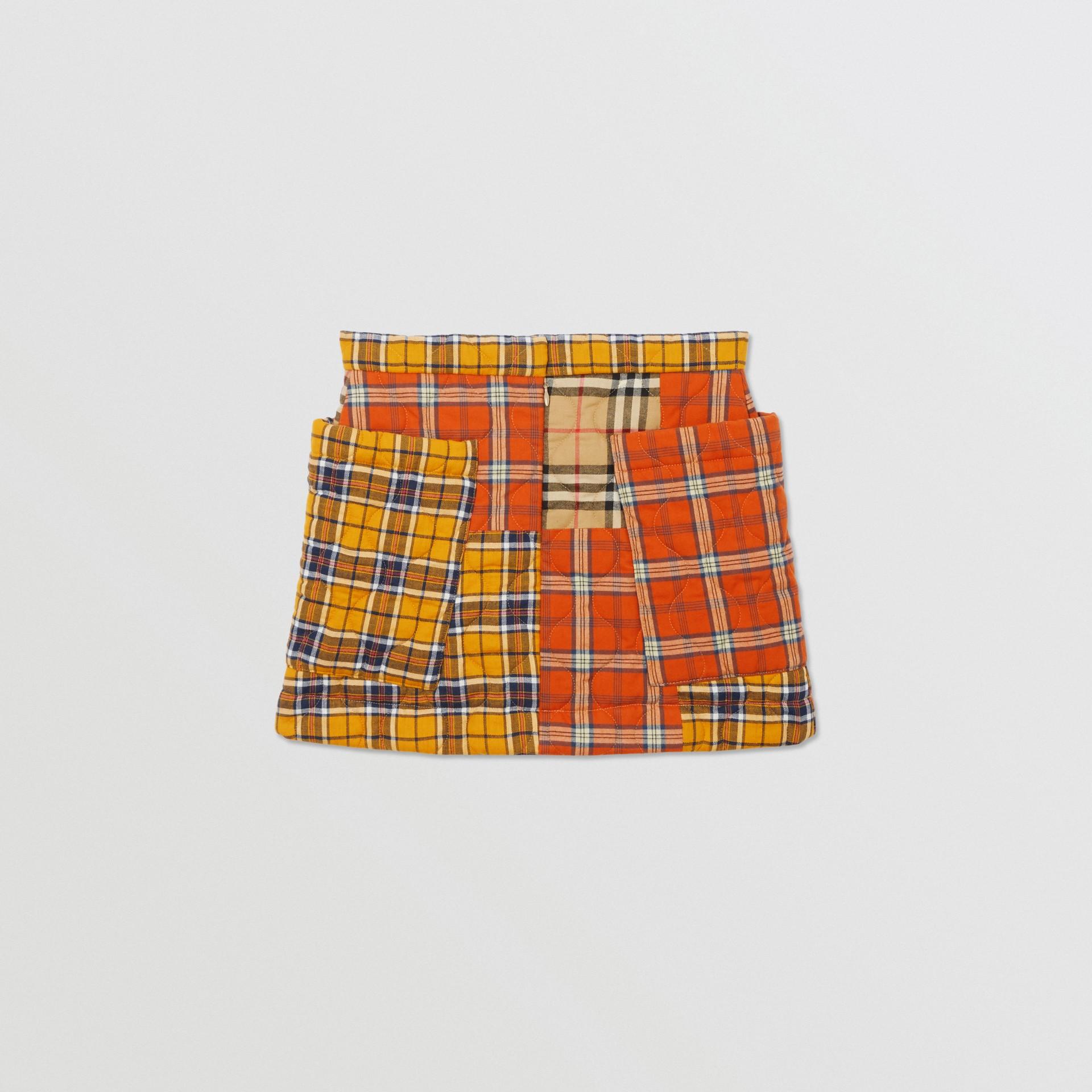 Jupe en flanelle de coton check (Jaune Suroît) | Burberry - photo de la galerie 3