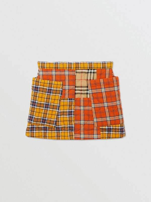 Patchwork Check Cotton Flannel Skirt in Souwester Yellow | Burberry United Kingdom - cell image 3