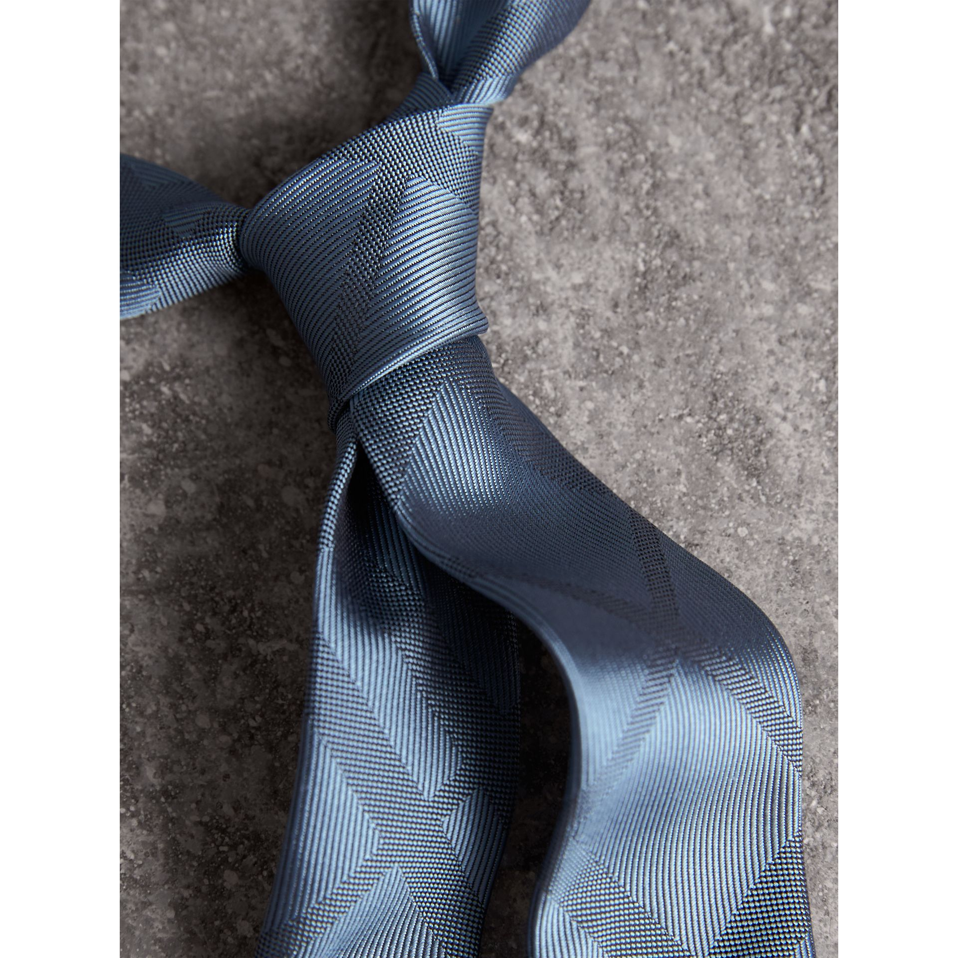 Slim Cut Check Silk Tie in Light Blue - Men | Burberry United States - gallery image 1