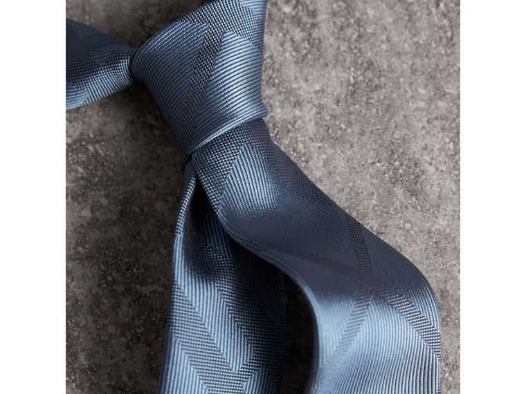 Slim Cut Check Silk Tie in Light Blue - Men | Burberry United States - cell image 1