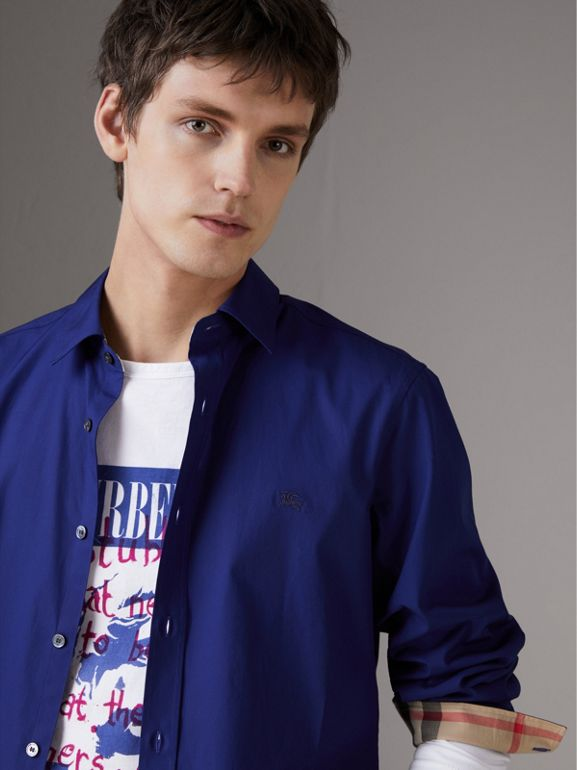 Check Detail Stretch Cotton Poplin Shirt in Bright Navy - Men | Burberry - cell image 1