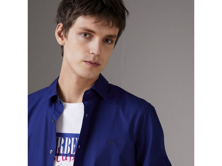 Check Detail Stretch Cotton Poplin Shirt in Bright Navy - Men | Burberry Canada - cell image 1