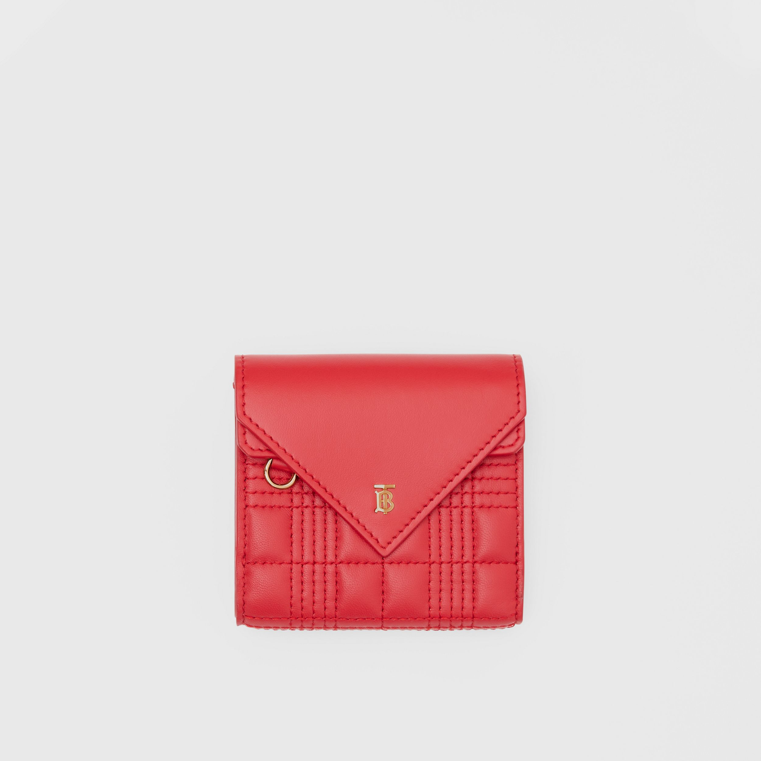 Quilted Lambskin Folding Wallet in Bright Red - Women | Burberry Australia - 1