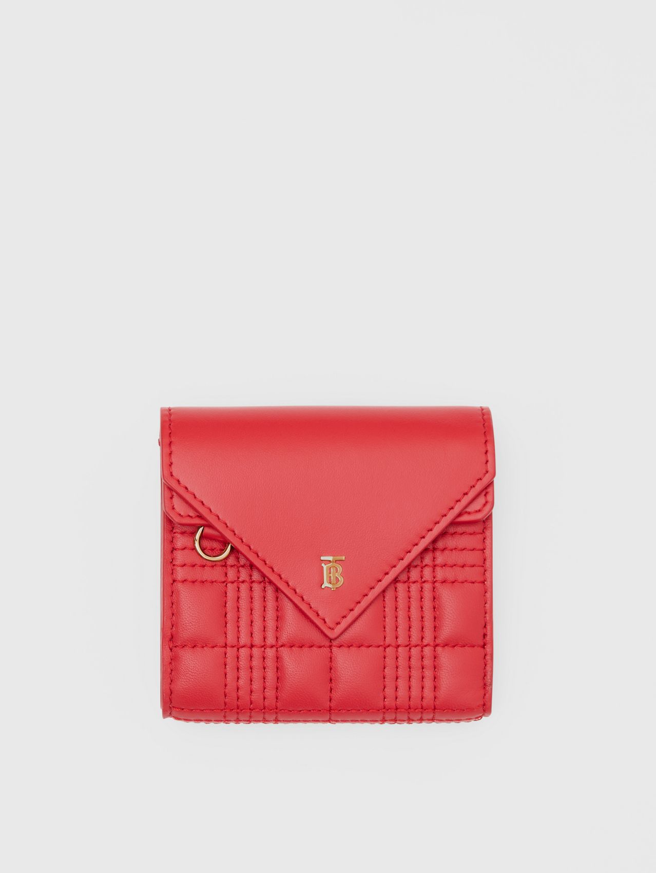 Quilted Lambskin Folding Wallet in Bright Red