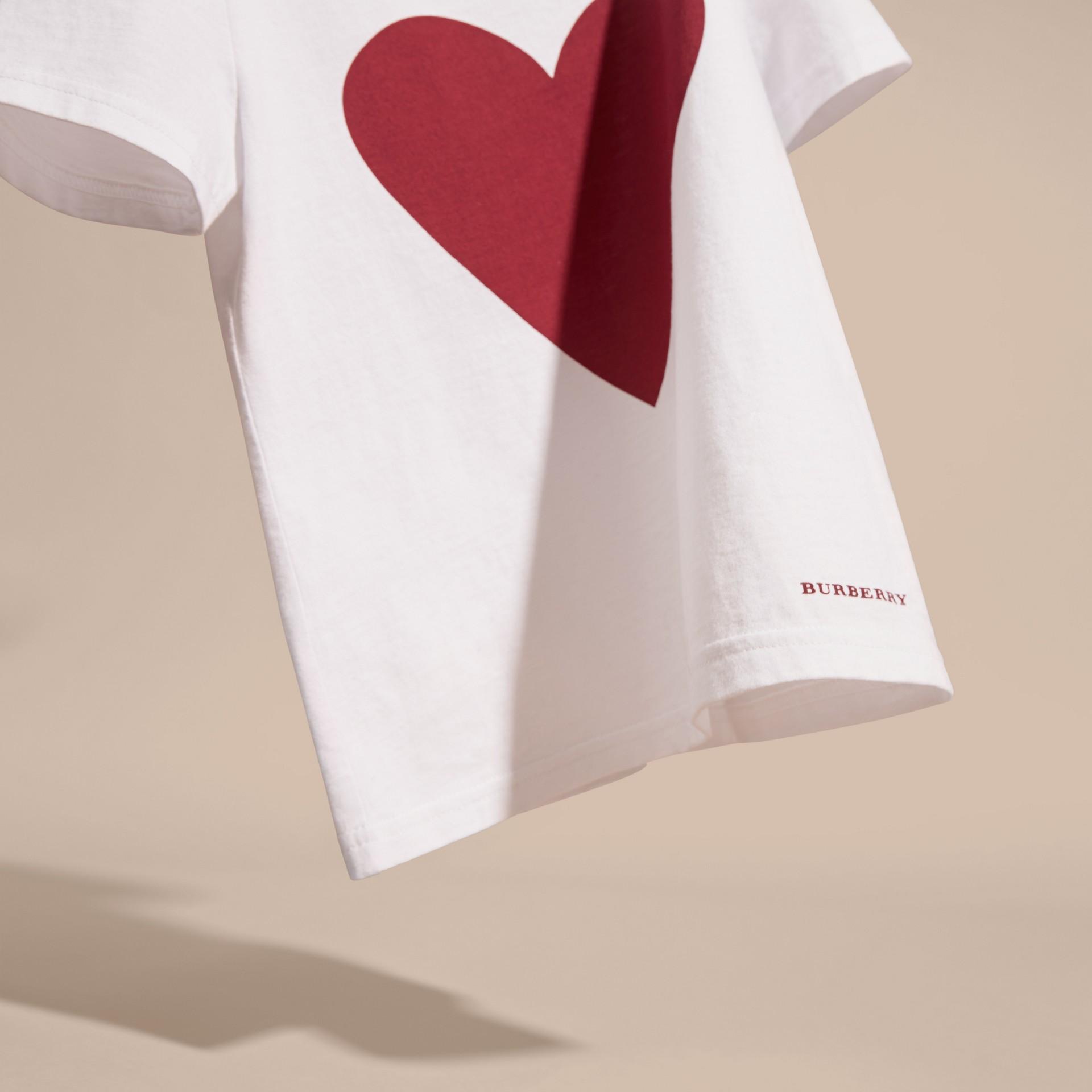 White Heart Print Cotton T-Shirt White - gallery image 3