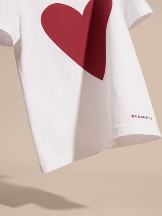 White Heart Print Cotton T-Shirt White - cell image 2