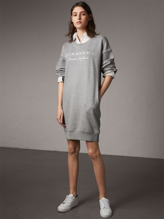 Embroidered Motif Cotton Jersey Sweatshirt Dress - cell image 3