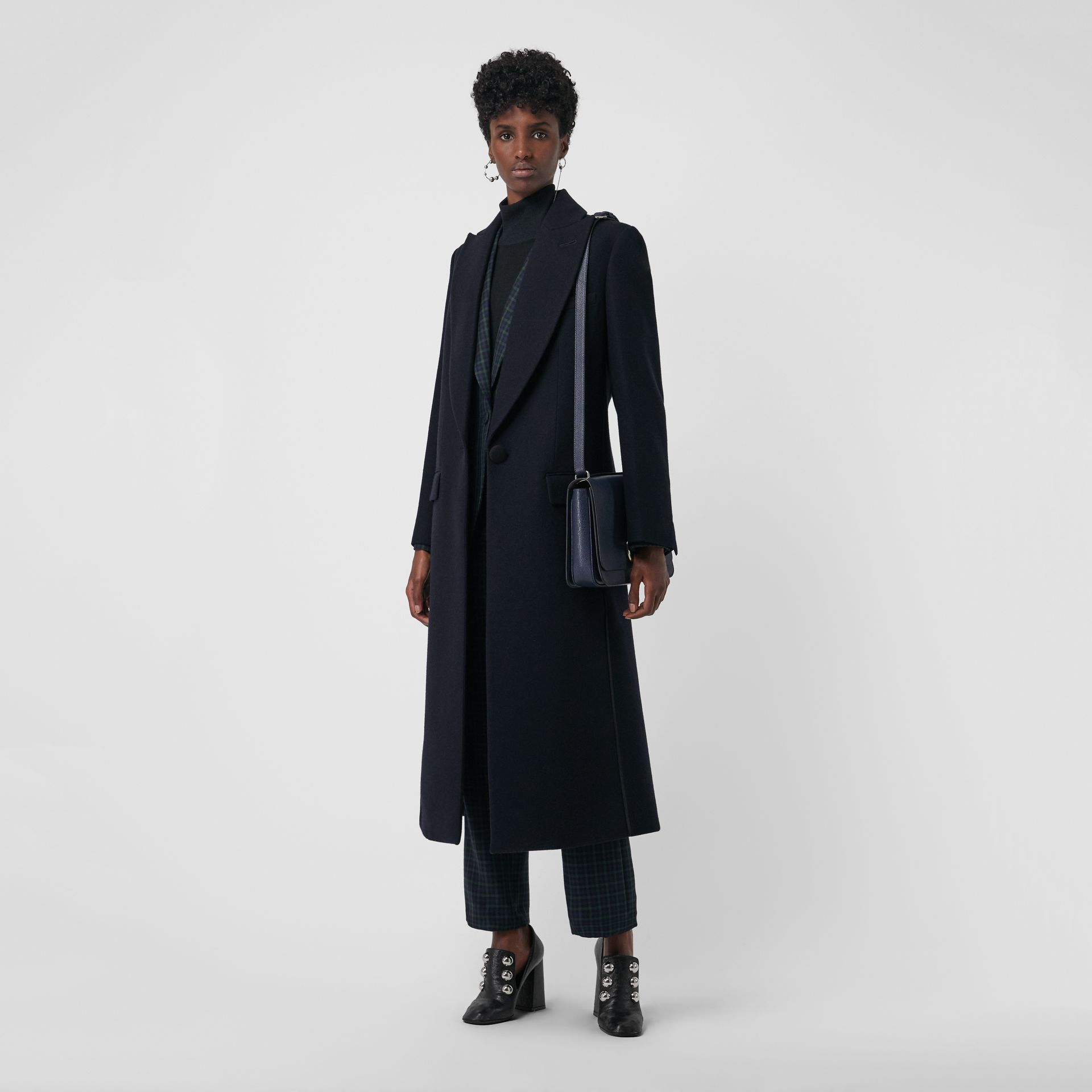 Cashmere Tailored Coat in Navy - Women | Burberry Singapore - gallery image 0