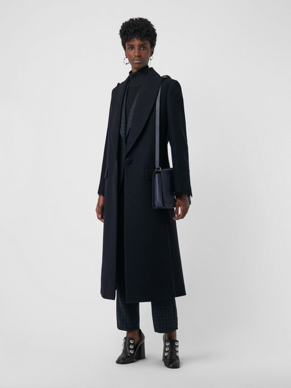 Cashmere Tailored Coat in Navy