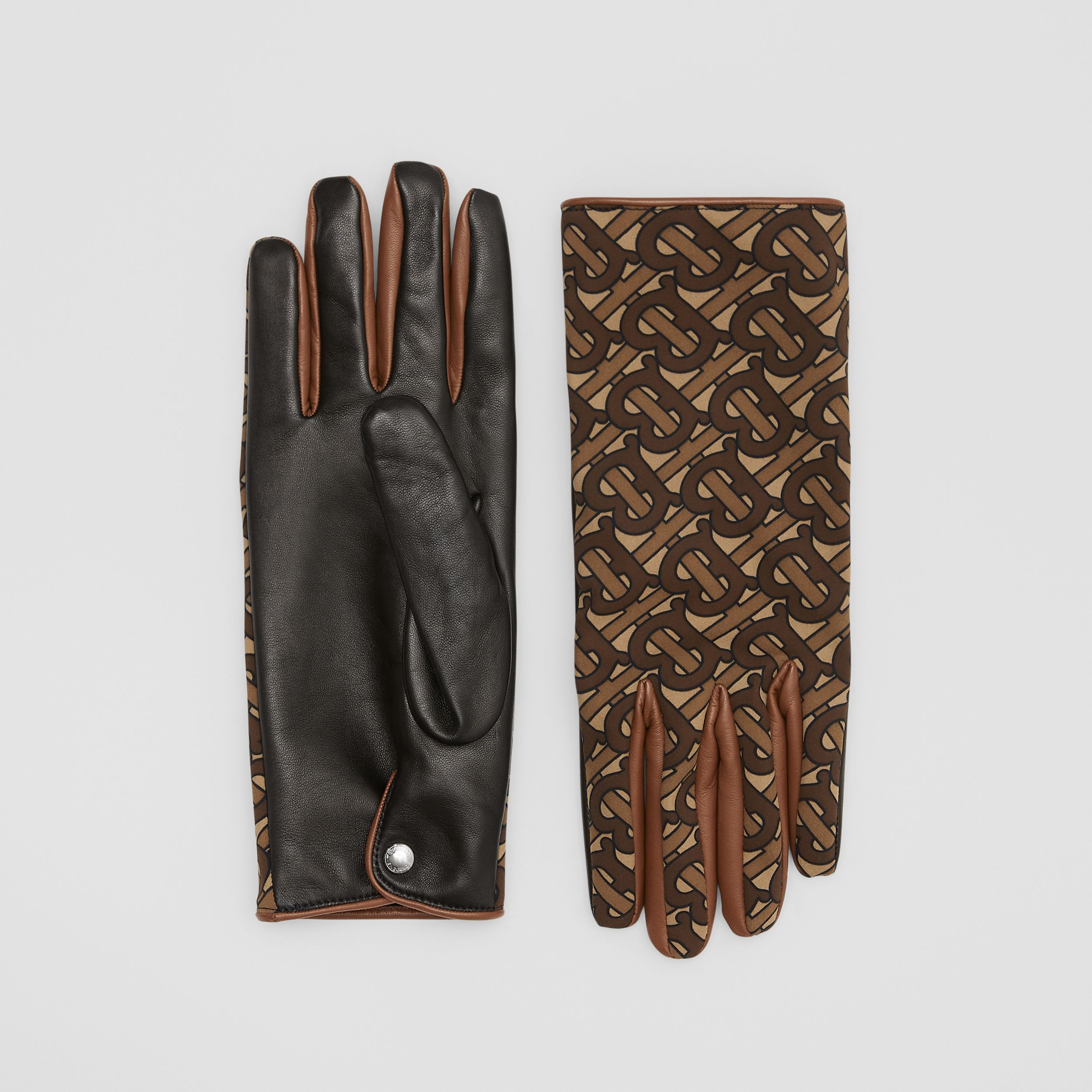 Cashmere-lined Monogram Print Lambskin Gloves in Bridle Brown - Men | Burberry - 1